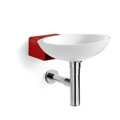 Ciuci Circular Vessel Bathroom Sink Sink Finish: White / Red