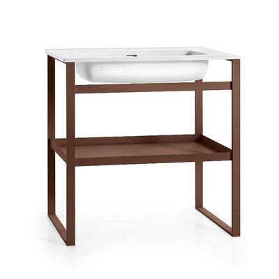 Linea 35 Single Free Standing Bathroom Vanity Set Base Finish: White / Rust