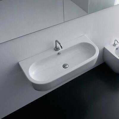 Flo Ceramic 36 Wall Mount Bathroom Sink with Overflow