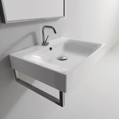 Cento Ceramic Wall Mount Bathroom Sink with Overflow