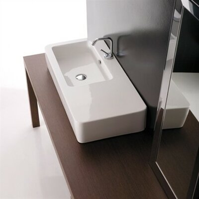 Kerasan Ceramic Rectangular Vessel Bathroom Sink with Overflow