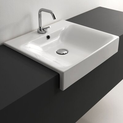 Cento Ceramic Rectangular Vessel Bathroom Sink with Overflow