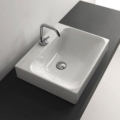 Cento Ceramic Ceramic Rectangular Vessel Bathroom Sink with Faucet