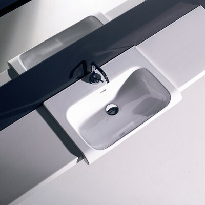 Inka Ceramic 24 Wall Mount Bathroom Sink with Overflow