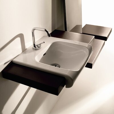 Inka Ceramic 16 Wall Mount Bathroom Sink with Overflow