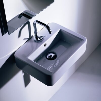 Quadro Ceramic 16 Wall Mount Bathroom Sink with Overflow