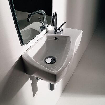 Wave Ceramic Specialty Vessel Bathroom Sink with Overflow