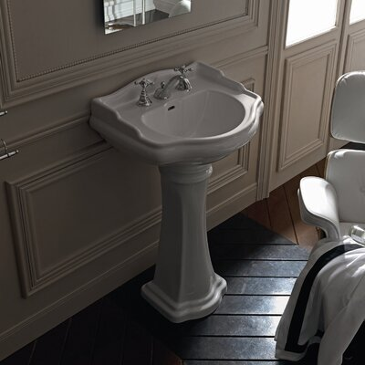 Retro Ceramic 29 Pedestal Bathroom Sink with Overflow Faucet Mount: Three Faucet Holes