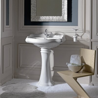 Kerasan Retro 25 Pedestal sink Bathroom Sink with Overflow Faucet Mount: Single Hole