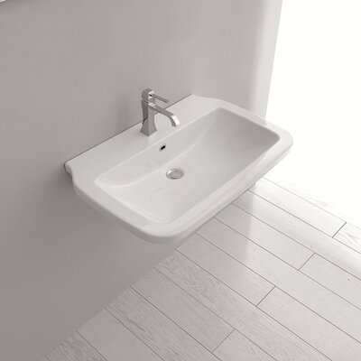 Nova Ceramic Rectangular Vessel Bathroom Sink with Overflow