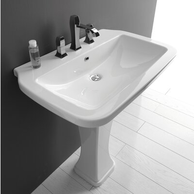 Quattro Ceramic Rectangular wall mounted Bathroom Sink with Overflow
