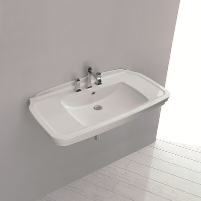 Nova Ceramic 40 Wall Mount Bathroom Sink with Overflow