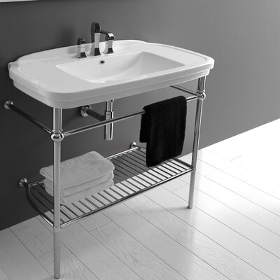 Nova Ceramic 40 Console Bathroom Sink with Overflow