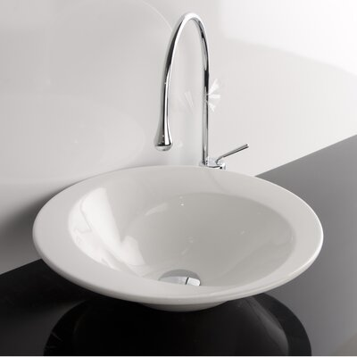 Minimal Ceramic Rectangular wall mounted Bathroom Sink with Overflow