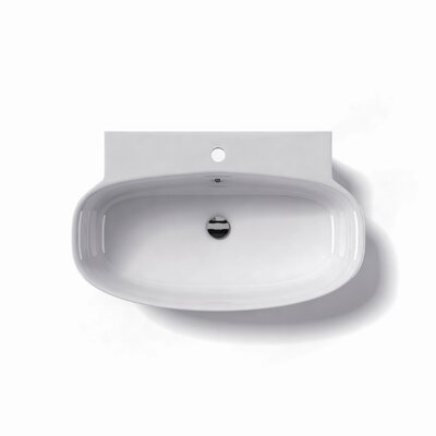 Grace Ceramic 30 Wall Mount Bathroom Sink with Overflow Faucet Mount: Single Hole