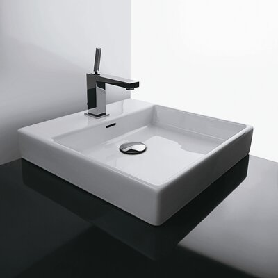 Plain Ceramic Square Vessel Bathroom Sink with Overflow Faucet Mount: No Hole