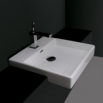 Quattro Ceramic Rectangular wall mounted Bathroom Sink with Overflow Faucet Mount: No Hole