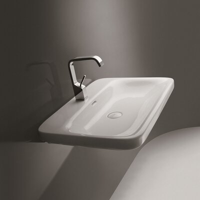 Ceramica Start Rectangular Vessel Bathroom Sink with Overflow Faucet Mount: Single Hole