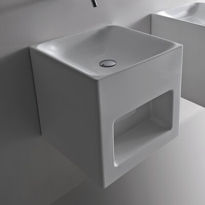 Cento Ceramic 18 Wall Mount Bathroom Sink