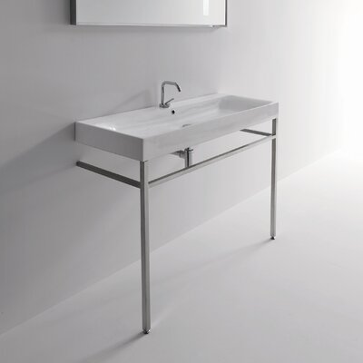 Cento Ceramic 48 Console Bathroom Sink with Overflow