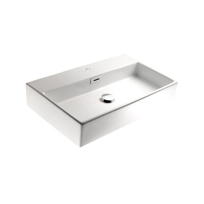 Linea Qaurelo 19.7 Wall Mount Bathroom Sink with Overflow Faucet Mount: No Holes