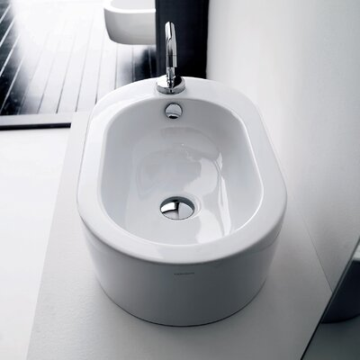 Flo Ceramic Ceramic U-Shaped Vessel Bathroom Sink with Overflow
