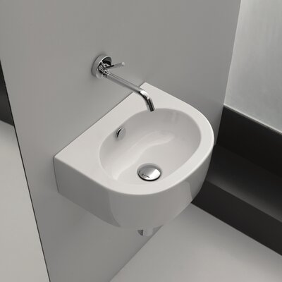 Kerasan Flo U-Shaped 16 wall mounted Bathroom Sink with Overflow