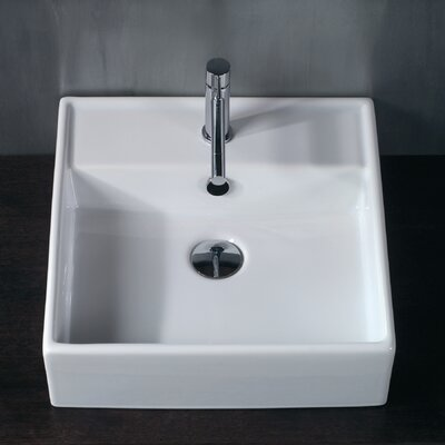 Ceramica 18 Wall Mount Bathroom Sink with Overflow Faucet Mount: Single Hole