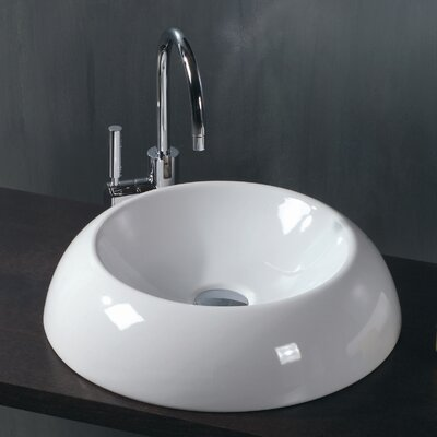 Ceramica Circular Vessel Bathroom Sink Faucet Mount: Single Hole
