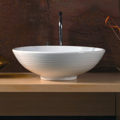 Ceramica Ceramic Circular Vessel Bathroom Sink Faucet Mount: Single Hole