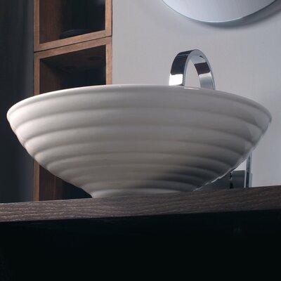 Ceramica Circular Vessel Bathroom Sink Faucet Mount: Single Hole