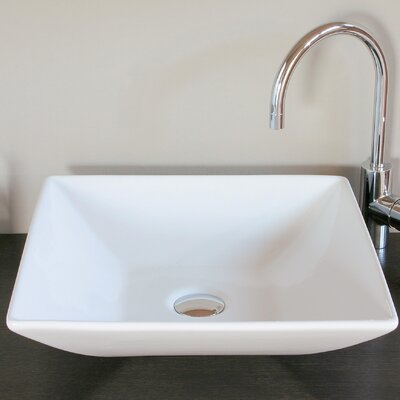 Ceramica Square Vessel Bathroom Sink Faucet Mount: Single Hole