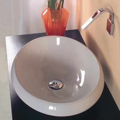 Ceramica Oval Vessel Bathroom Sink Faucet Mount: Single Hole