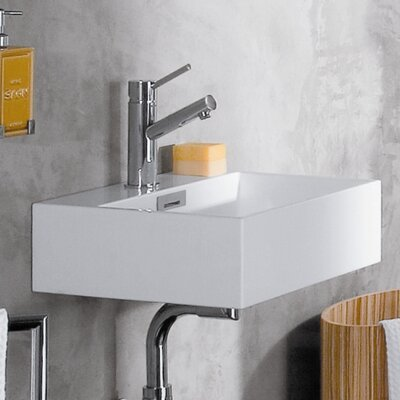 Linea Qaurelo 16.7 Wall Mount Bathroom Sink with Overflow Faucet Mount: No Hole