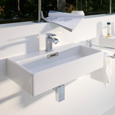 Quarelo Ceramic 20 Wall Mount Bathroom Sink with Overflow Faucet Mount: One Hole