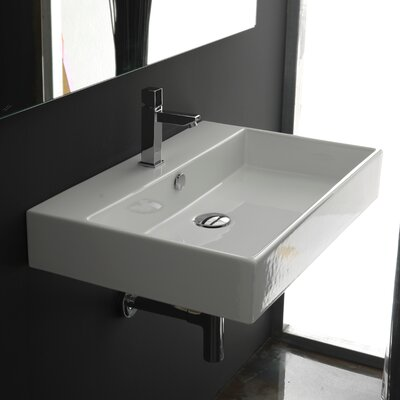 Ceramica II Unlimited Ceramic Rectangular Vessel Bathroom Sink with Overflow Faucet Mount: Three Hole