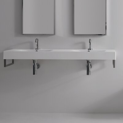 Cento Ceramic 56 Wall Mount Bathroom Sink with Overflow