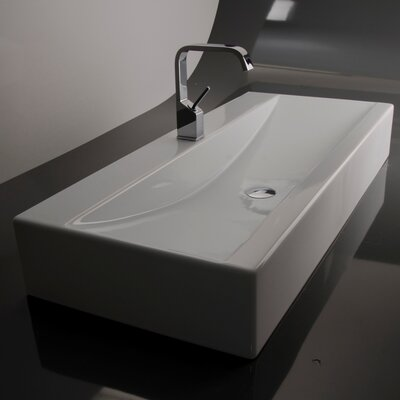 Ceramica Rectangular Vessel Bathroom Sink with Overflow Faucet Mount: Single Hole