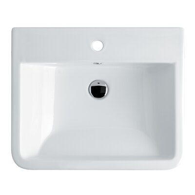 Chiante Ceramic Rectangular Vessel Bathroom Sink with Overflow Faucet Mount: Single Hole