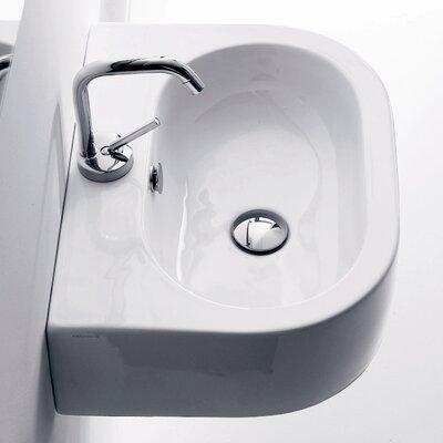 Flo Ceramic U-Shaped Vessel Bathroom Sink with Overflow