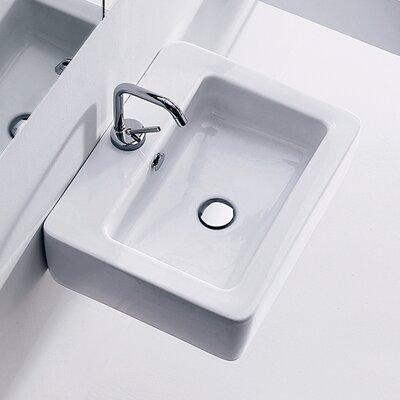 Kerasan Ego 19.7 Wall Mount Bathroom Sink with Overflow