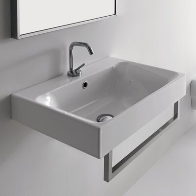 Kerasan Cento 23.6 Wall Mount Bathroom Sink with Overflow