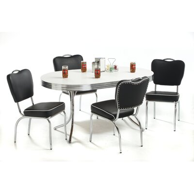Classic Retro Retro Oval Dining Set In Bright Chrome ERU1019 Dining Table