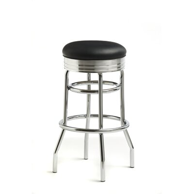 "Retro 30"" Swivel Bar Stool with Cushion Upholstery Color: Omni Black"
