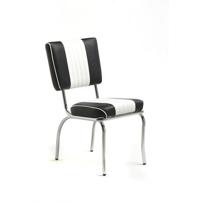 Classic Retro Retro Racer Back Dining Chair With Sled Base In Bright Chrome