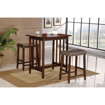 No credit financing 3 Piece Bar Table Set in Spice...