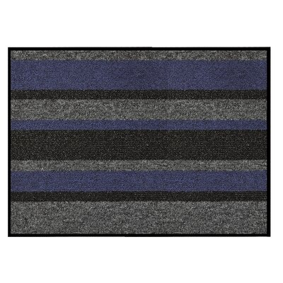 Textura Stripe Doormat Color: Blue, Rug Size: 3 x 4