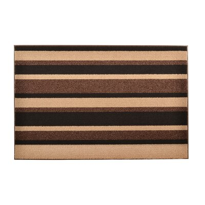 Textura Stripe Doormat Color: Brown, Rug Size: 16 x 26