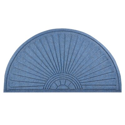 Guzzler Sunburst Doormat Color: Slate Blue, Rug Size: Half Moon 38 x 111