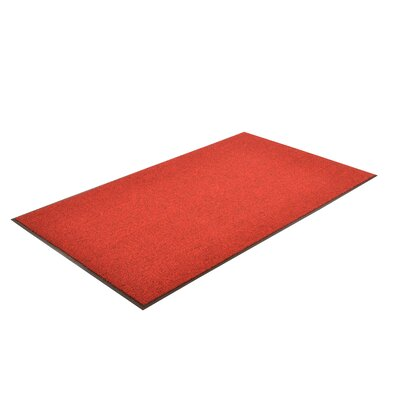 Solid Estes Doormat Size: Rectangle 3 x 6, Color: Red/Black